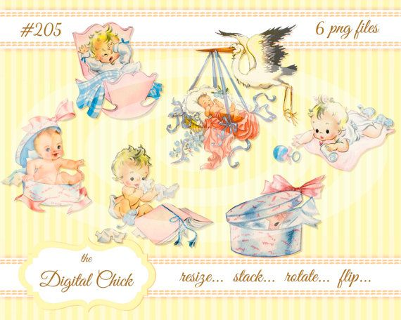 Digital Clipart Instant Download Vintage Baby Clip Art Illustrations Stork Cradle Rattle Blue Pink Cute Babies Png Files 205