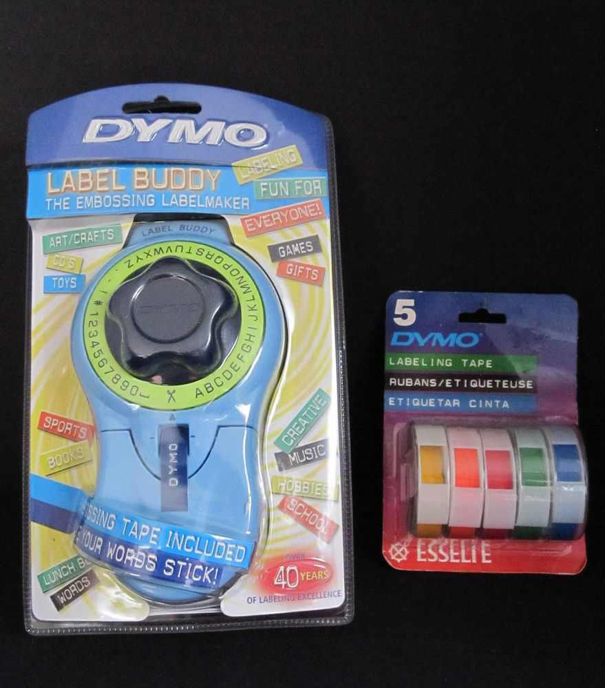 Dymo Label Buddy Embossing Label Maker and 5 Labeling Tapes
