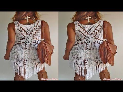 96cdf54ed Como hacer vestido de playa tejido a crochet. - YouTube