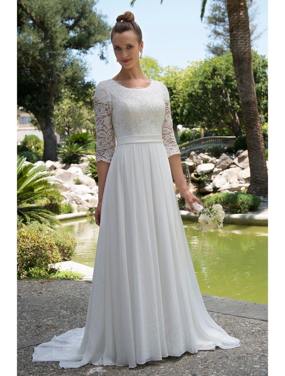 3 4 sleeve lace wedding dress  Cool Amazing  Sleeve Modest Lace Chiffon Wedding Dress White