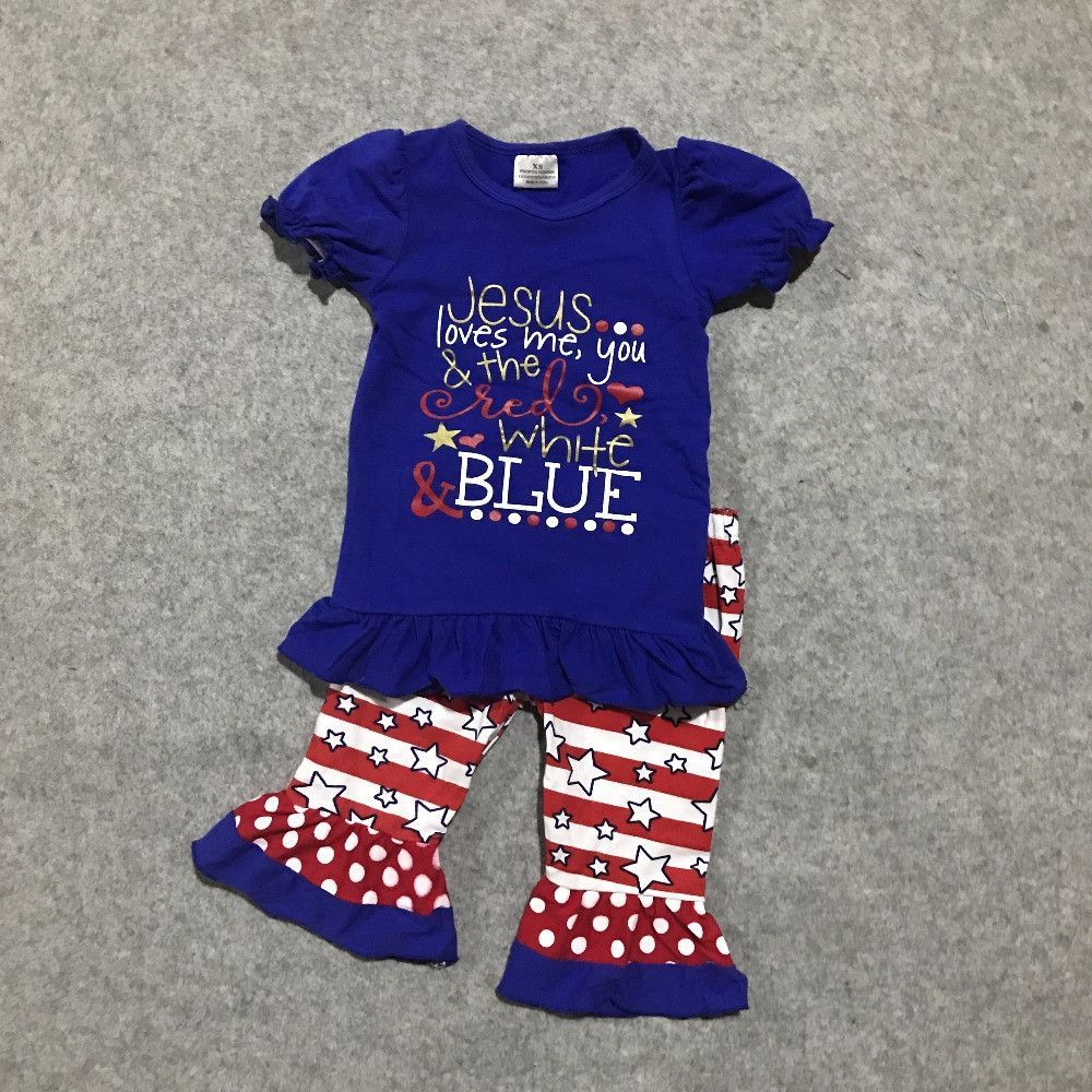 new Arrival baby Girls summer Jesus love me navy short polka dot ...
