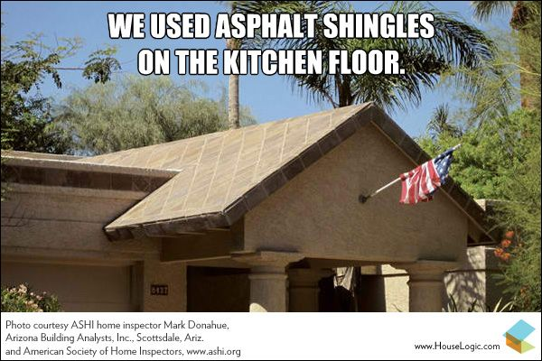 Funny Fail We Used Asphalt Shingles On The Kitchen Floor