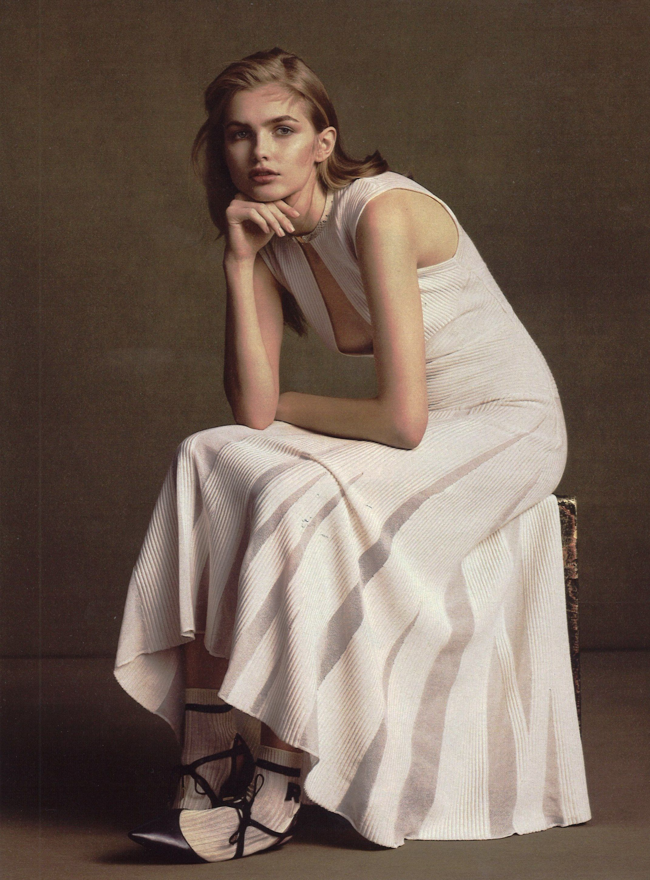 WSJ Magazine (April 2015) Trending: strong silhouettes in hues of cream for Salvatore Ferragamo SS15.