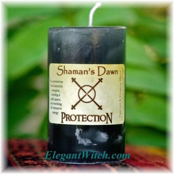 Shamans Dawn Black Protection Candle Energy Create Safe