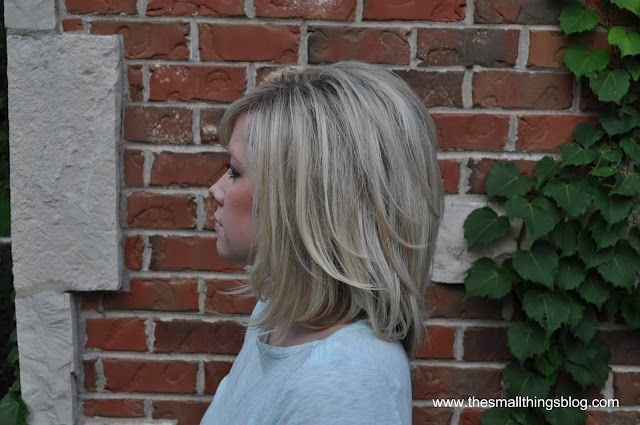 "The Small Things Blog: My Haircut.    I want my hear cut in a long bob like this so that I can style it like her ""bouncy curled under"" post.  I showed my stylist her styled post and ended up with a angled bob, not exactly what I was going for, I'll show him these pics next time!"