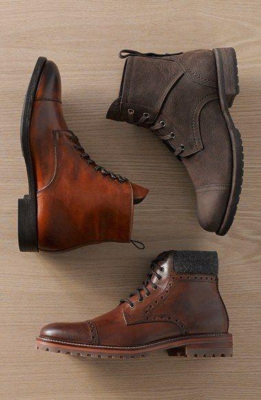 Leather shoes men, Cap toe boots, Mens