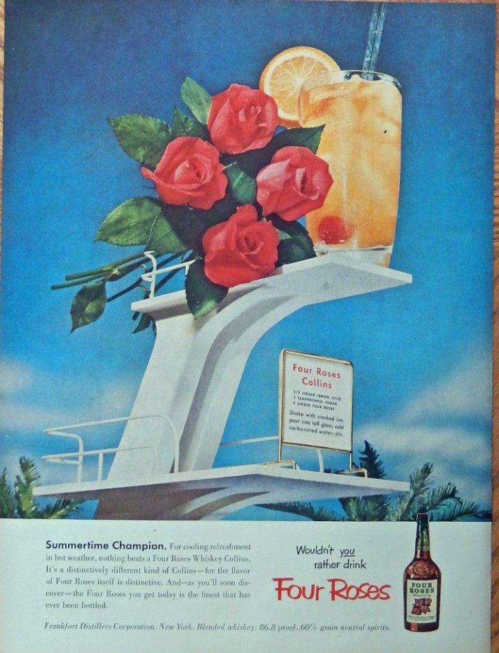 1958 FOUR ROSES WHISKY Vintage Look REPLICA METAL SIGN ENGLISH BULLDOG DOG BEACH
