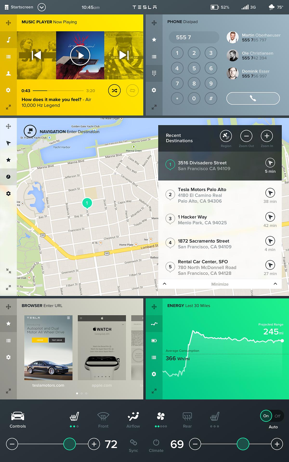 Tesla Interface Konzept Konzept Tesla Fahrzeuge