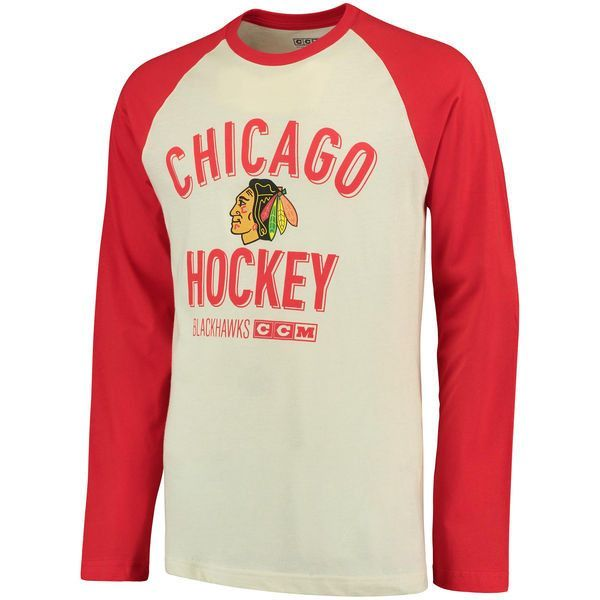 7f5bf47db9b MEN S CHICAGO BLACKHAWKS CCM CREAM RED TEAM LOGO TRI-BLEND RAGLAN LONG  SLEEVE T-SHIRT