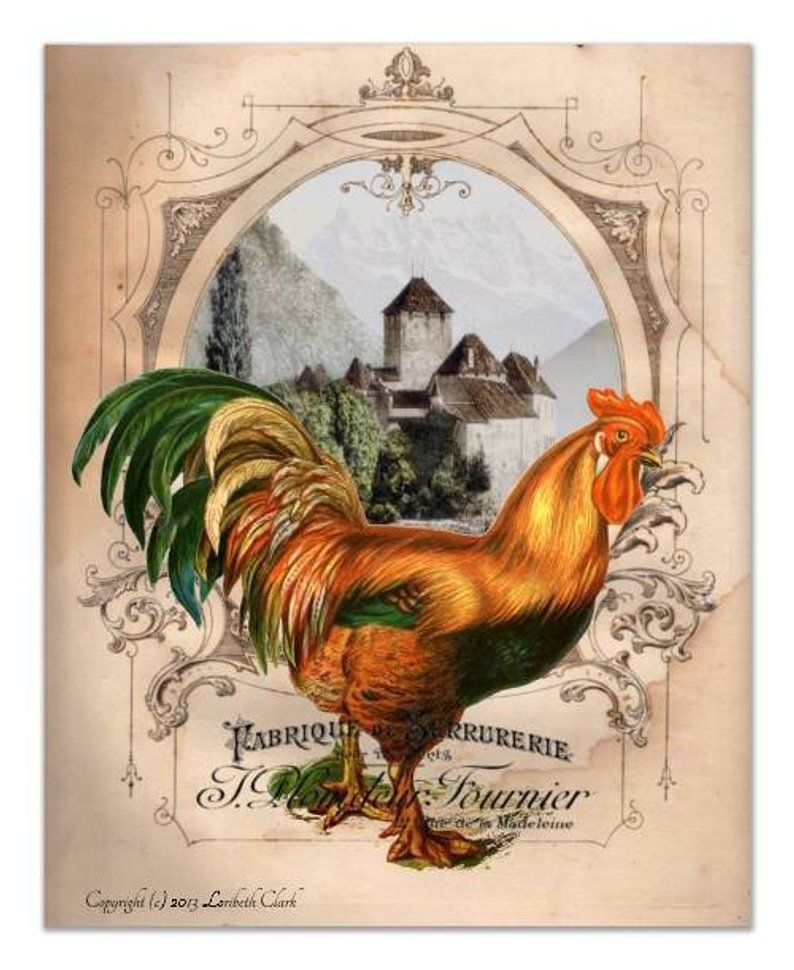 Rooster Kitchen Decor French Country Decor Wall Art Set Of 4 Etsy Rooster Wall Art Rooster Art Country Art