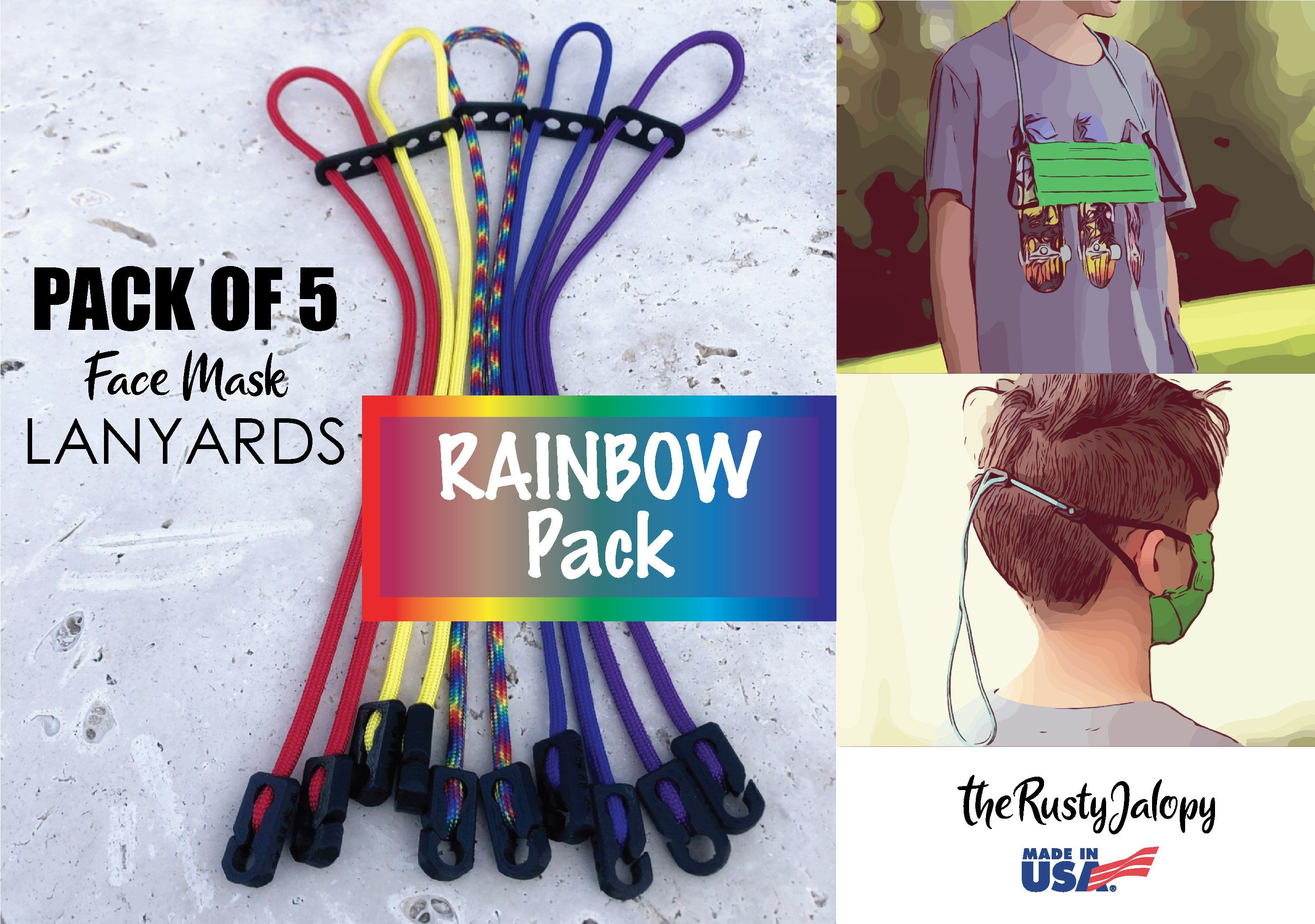 RAINBOW Pack of 5 Lanyards 24 Mask Strap for Face Masks