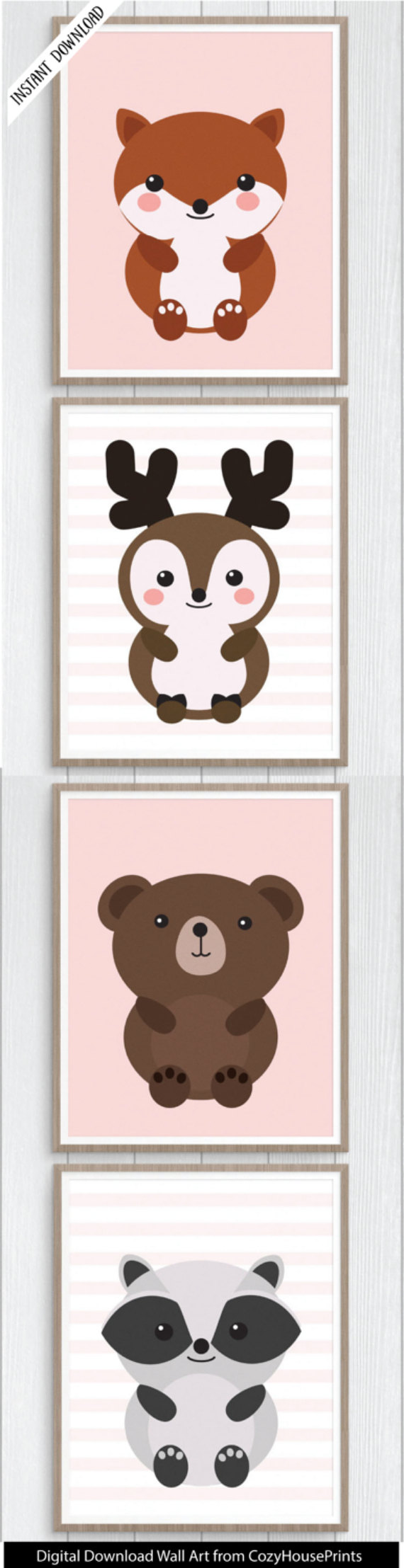 Girls Pink Woodland Animals Nursery Print Set: Instant Download Printable  Adorable set for girls room with fox, deer, bear, and raccon