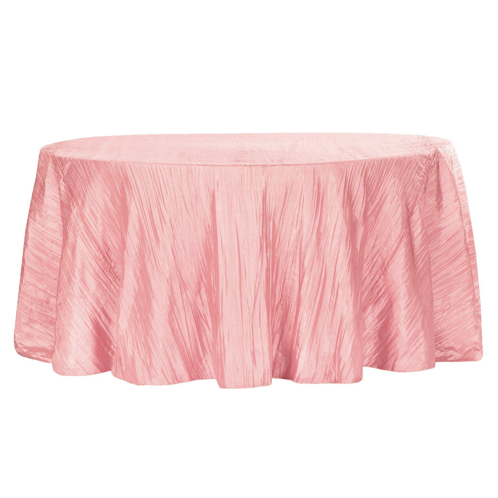 Accordion Crinkle Taffeta 120 Round Tablecloth Dusty Rose Mauve