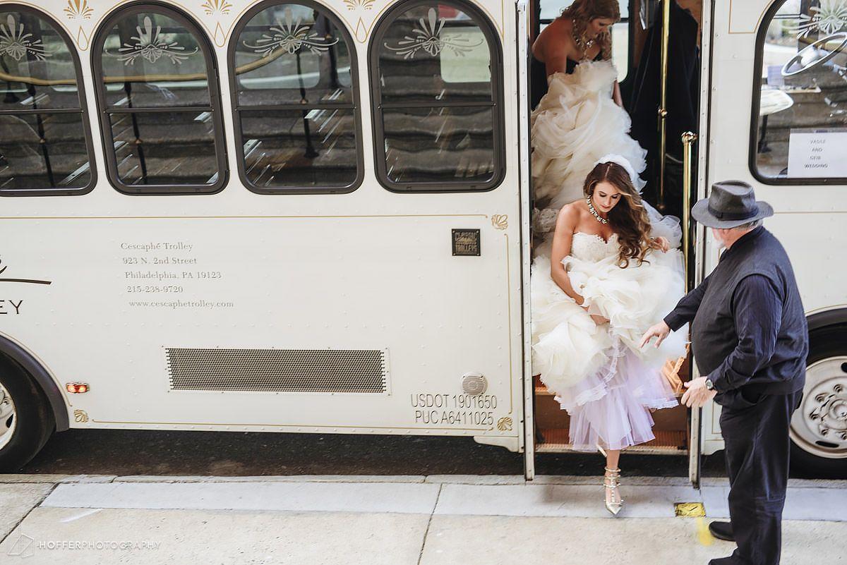Trolly Ride Cescaphe Wedding Hoffer Photography Philadelphia Wedding Photographer Philadelphia Wedding Wedding Photographers