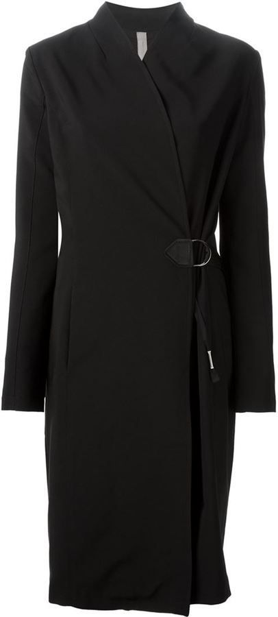 $575, Black Coat: Damir Doma Silent Chara Coat. Sold by farfetch.com. Click for more info: https://lookastic.com/women/shop_items/297494/redirect