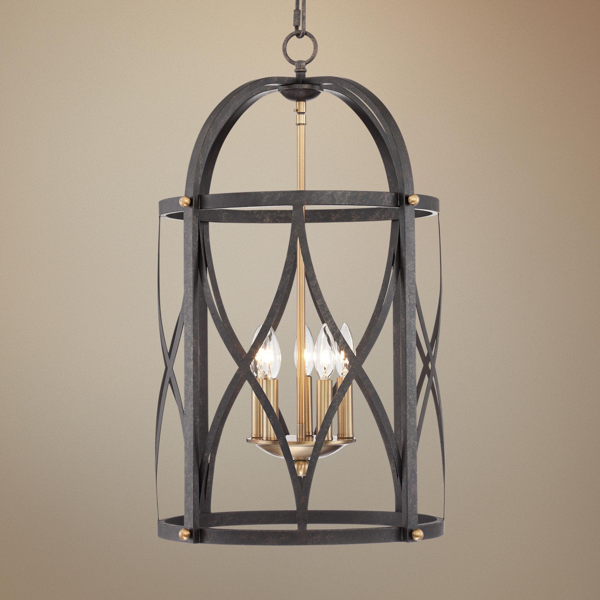 """Torrison 5 Light 16"""" Wide Dark Bronze Foyer Chandelier"""