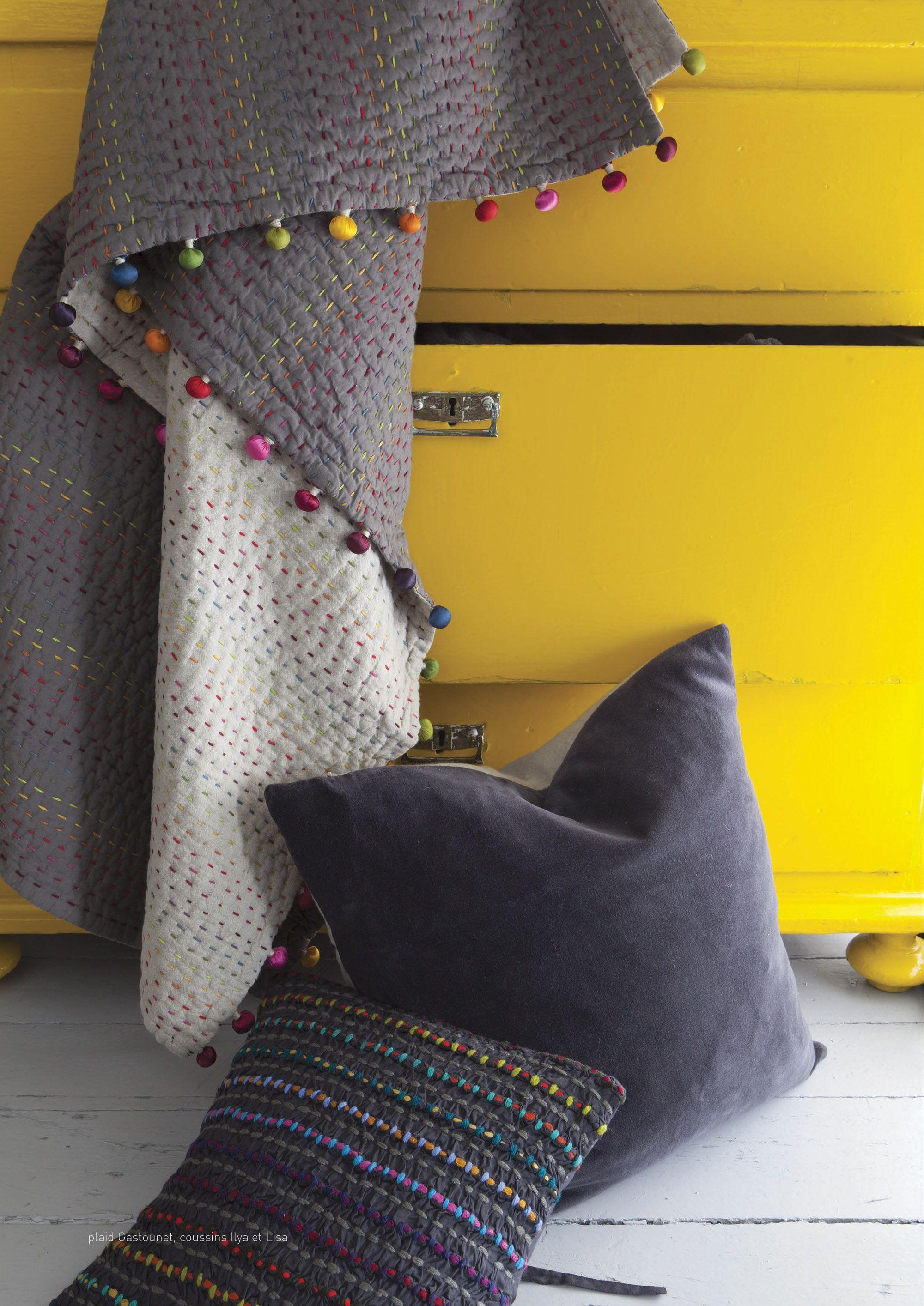 """Jeté de lit quilté VIVARAISE """"GASTOUNET""""  www.lacompagniefrancaise.com"""