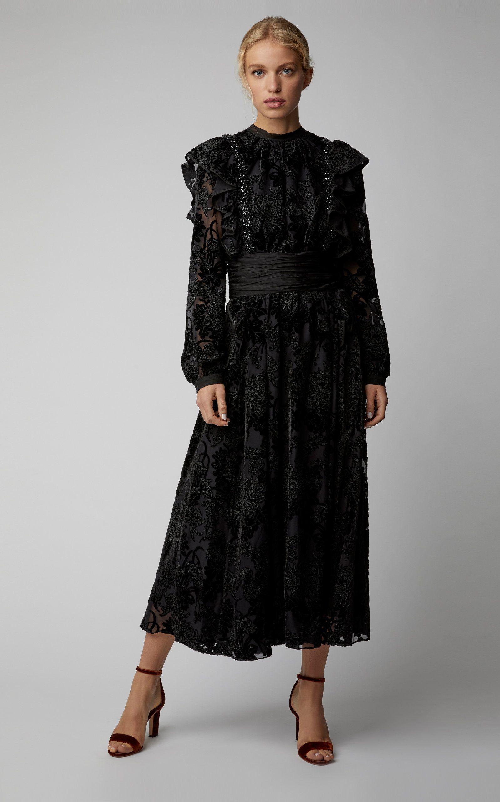 Rochasruffled Flocked Velvet Midi Dress Life Goes To A Party In
