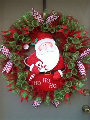 "32"", Santa Red/Lime Spiral Mesh Christmas Wreath : $85 Made by Red-y Made Wreaths. Like & Follow us on Facebook https://www.facebook.com/pages/Red-y-Made-Wreaths/193750437415618 or Visit us at www.redymadewreaths.com"
