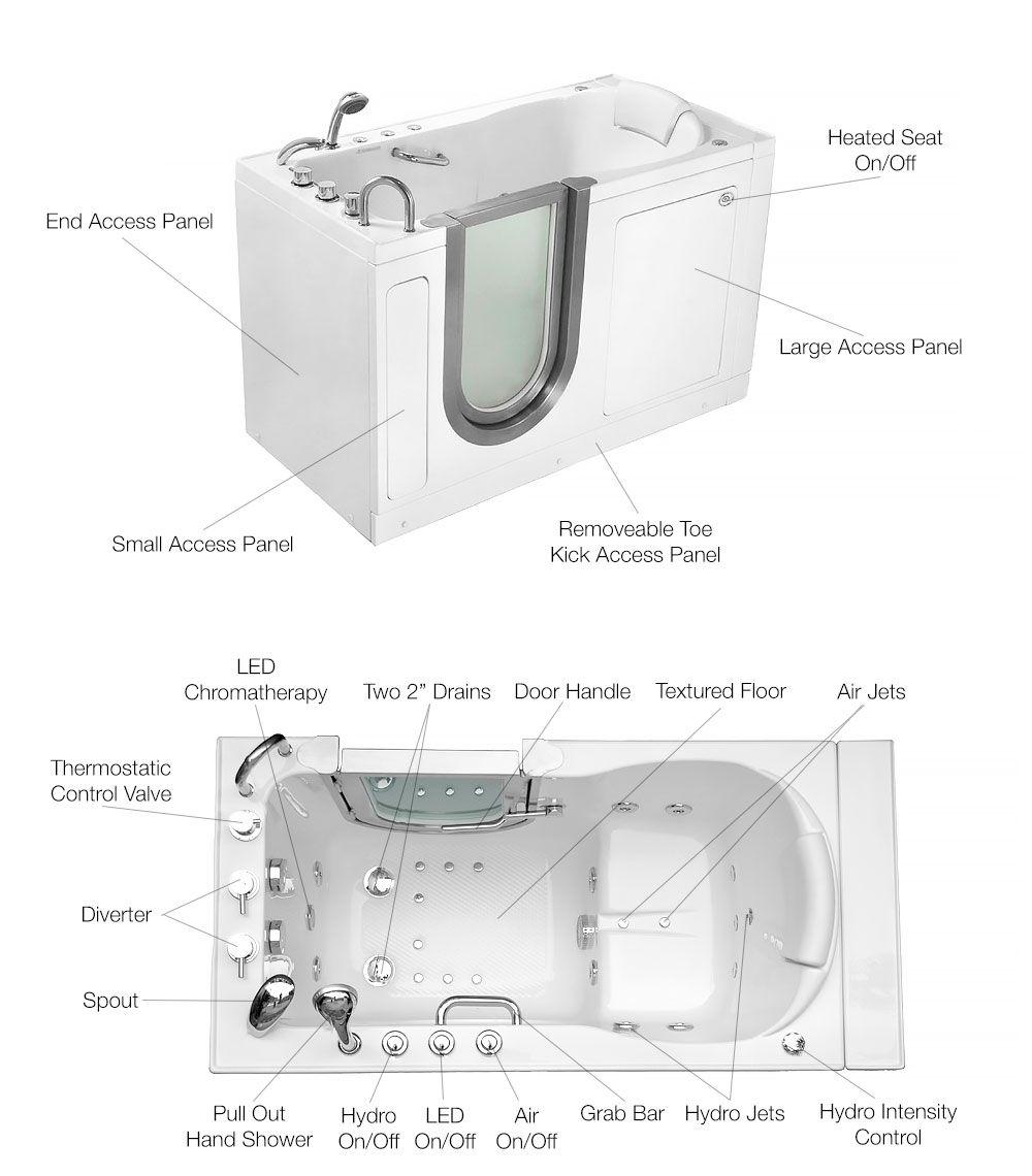Ella Deluxe Walk In Bathtub Measures 30 W X 55 L X 38 H With A