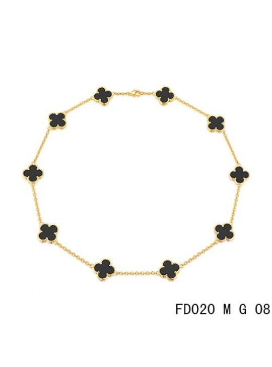 28f941be422cc Van Cleef Arpels Replica Vintage Alhambra Necklace Yellow Gold 10 Motifs  Black Onyx