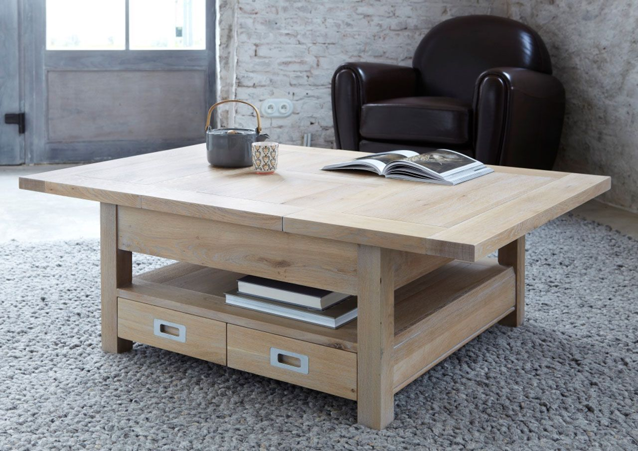 Table Basse Chene Naturel Sable 4 Tiroirs Rallonges Toronto Table Basse Table Basse Carree Table Basse Chene