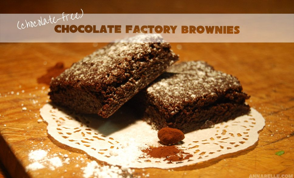 Chocolate Brownies, sans chocolate (they use cocoa powder instead). These are quick, easy and delicious and only use kitchen staples! Makes a huge batch.