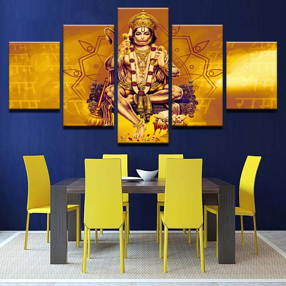 5 Pieces Lord Hanuman Shri Ram Paintings Canvas Prints Wall Art ...