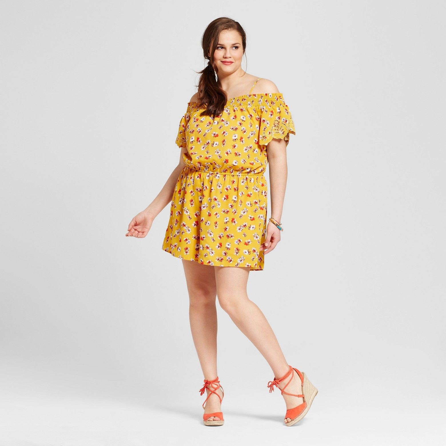 39a37a037fef The Women s Plus Size Embroidered Romper in Yellow Floral by ...