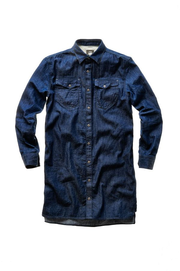 The Tacoma extra long shirt is a long denim shirt with forearm patches in a sky-blue shade of indigo.