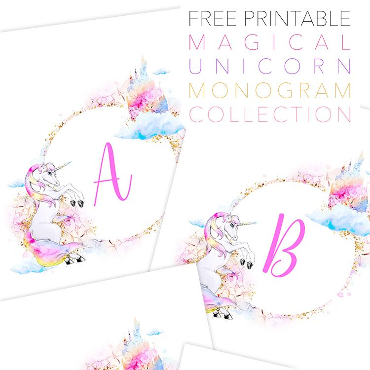 free unicorn printable monograms collection