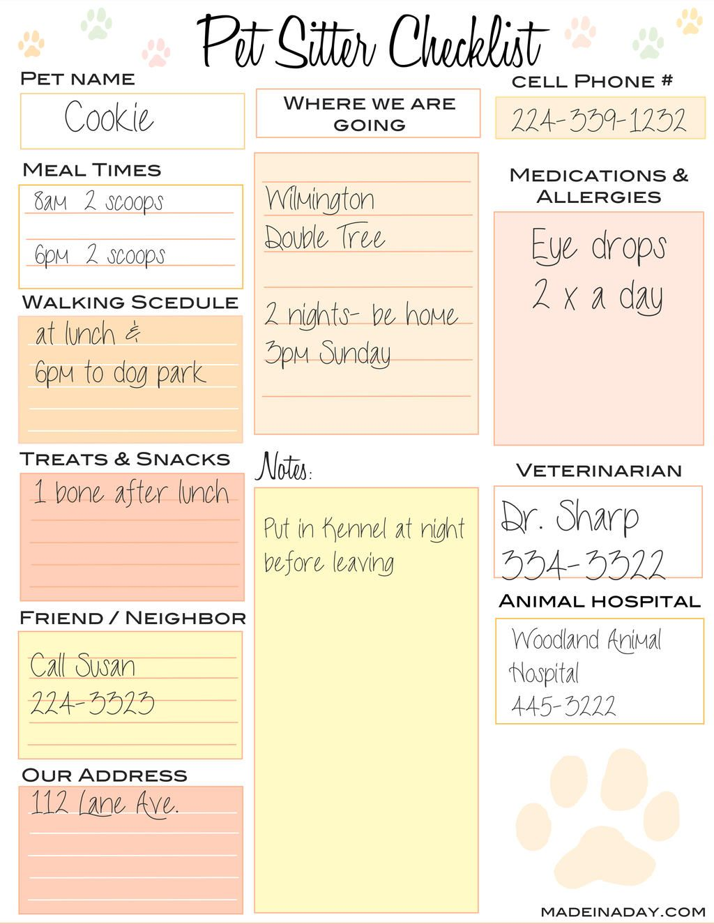Pet Sitter Checklist  Pet Sitting    Pet Sitting Pet