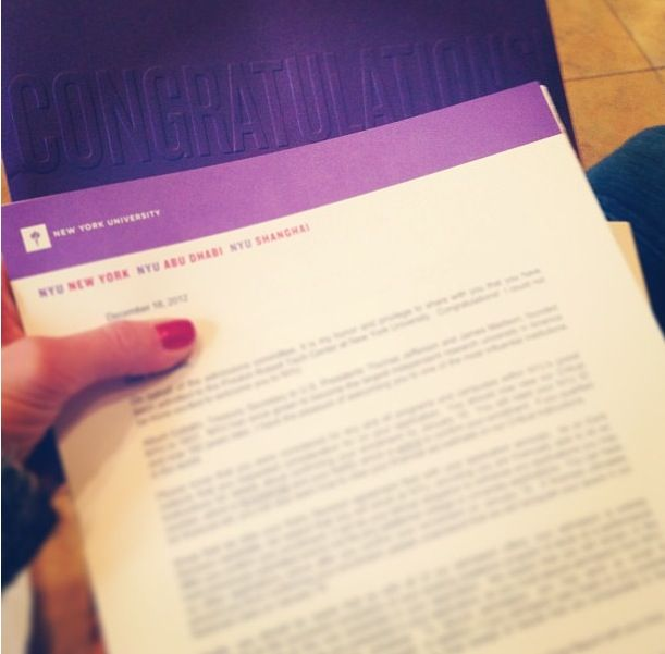 Nastia Liukinu0027s acceptance letter into NYU! Gymnastics Pinterest - college acceptance letters