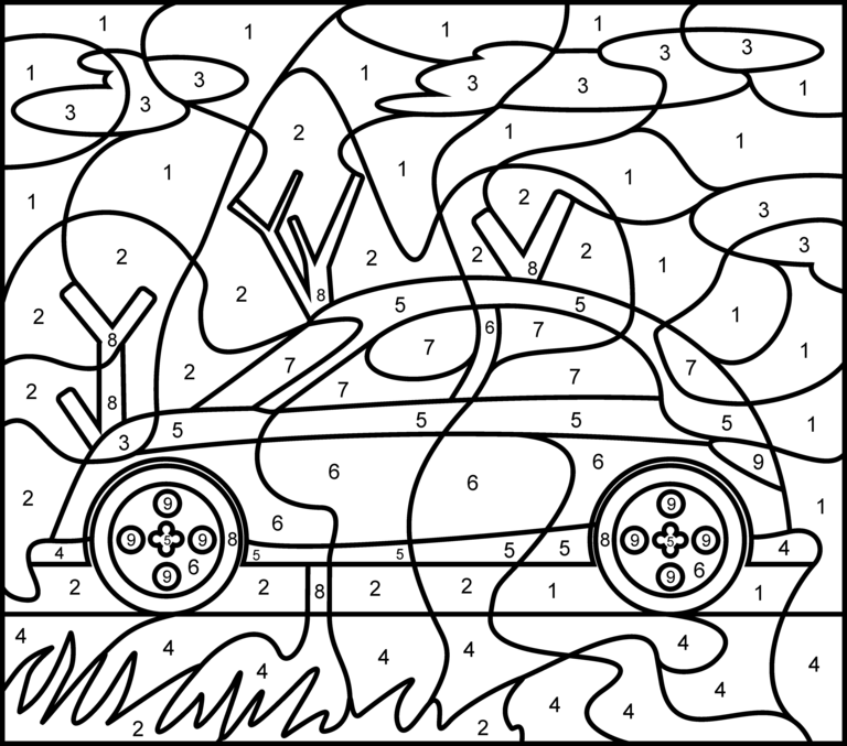 Car Printable Color by Number Page Hard Coloring