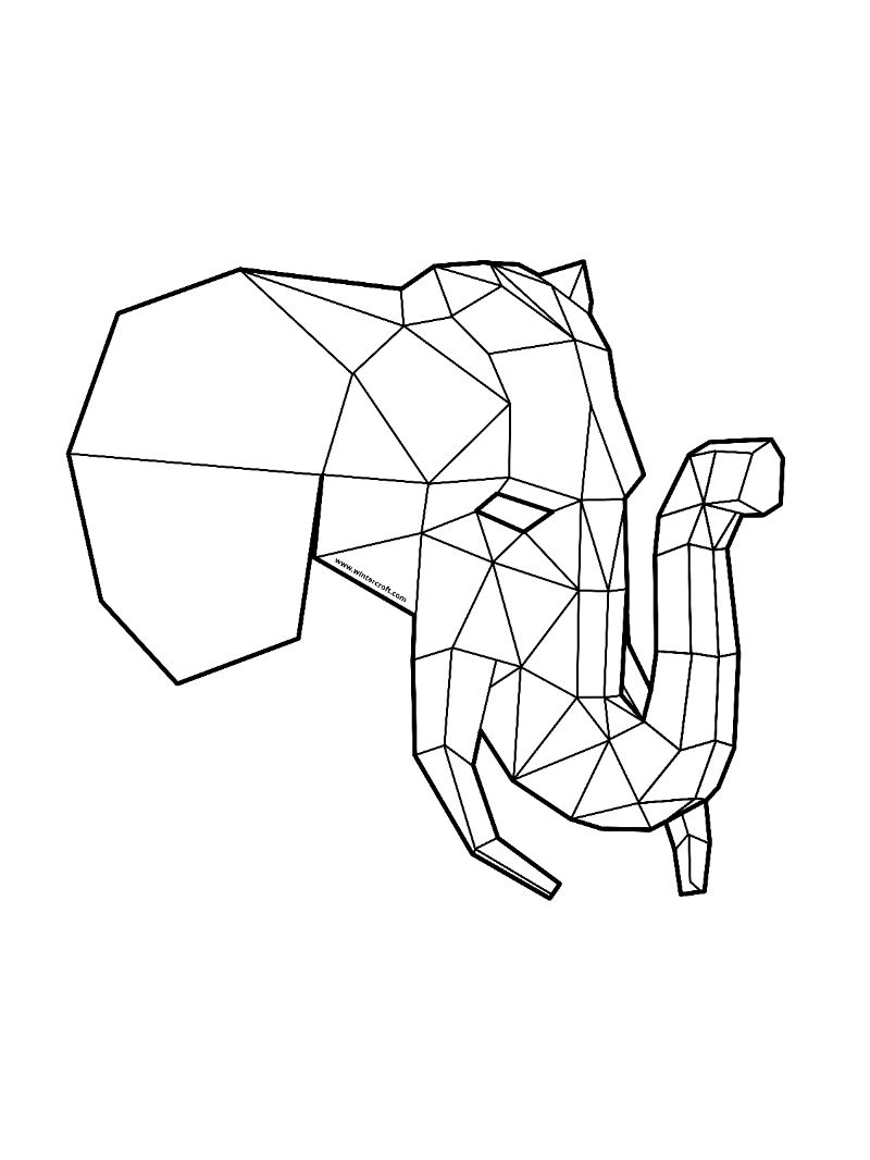 polygon mask idea  polygon  elephant  mask  wintercroft