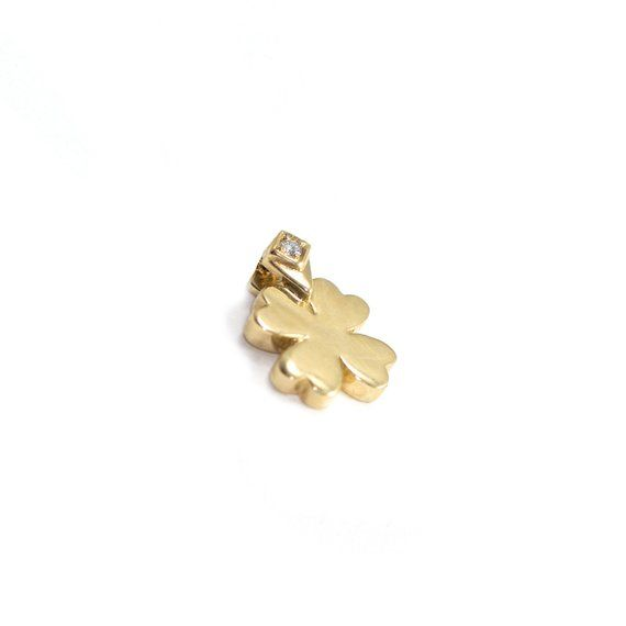 fc8cf24d4 4 Leaf Clover Pendant, Diamonds & Gold Pendant, Diamond Gold Charm, Four  Leaf Clover, 18K Gold Penda