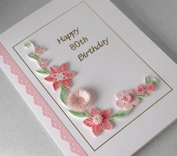 Handmade 80th Birthday Card Paper Quilling By PaperDaisyCardDesign 700