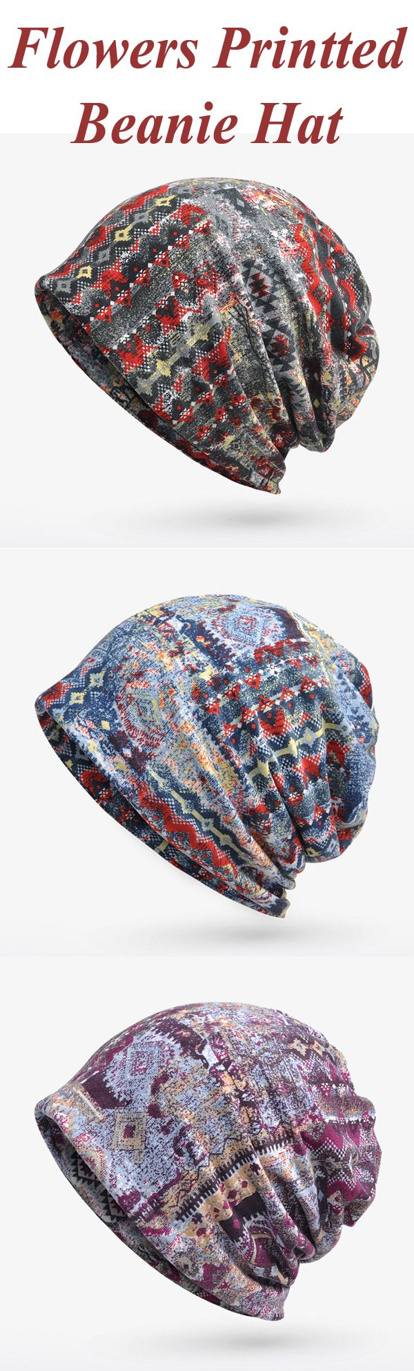 US$ 6.39 Women Flowers Printted Beanie Hat Outdoor Riding Plus ...
