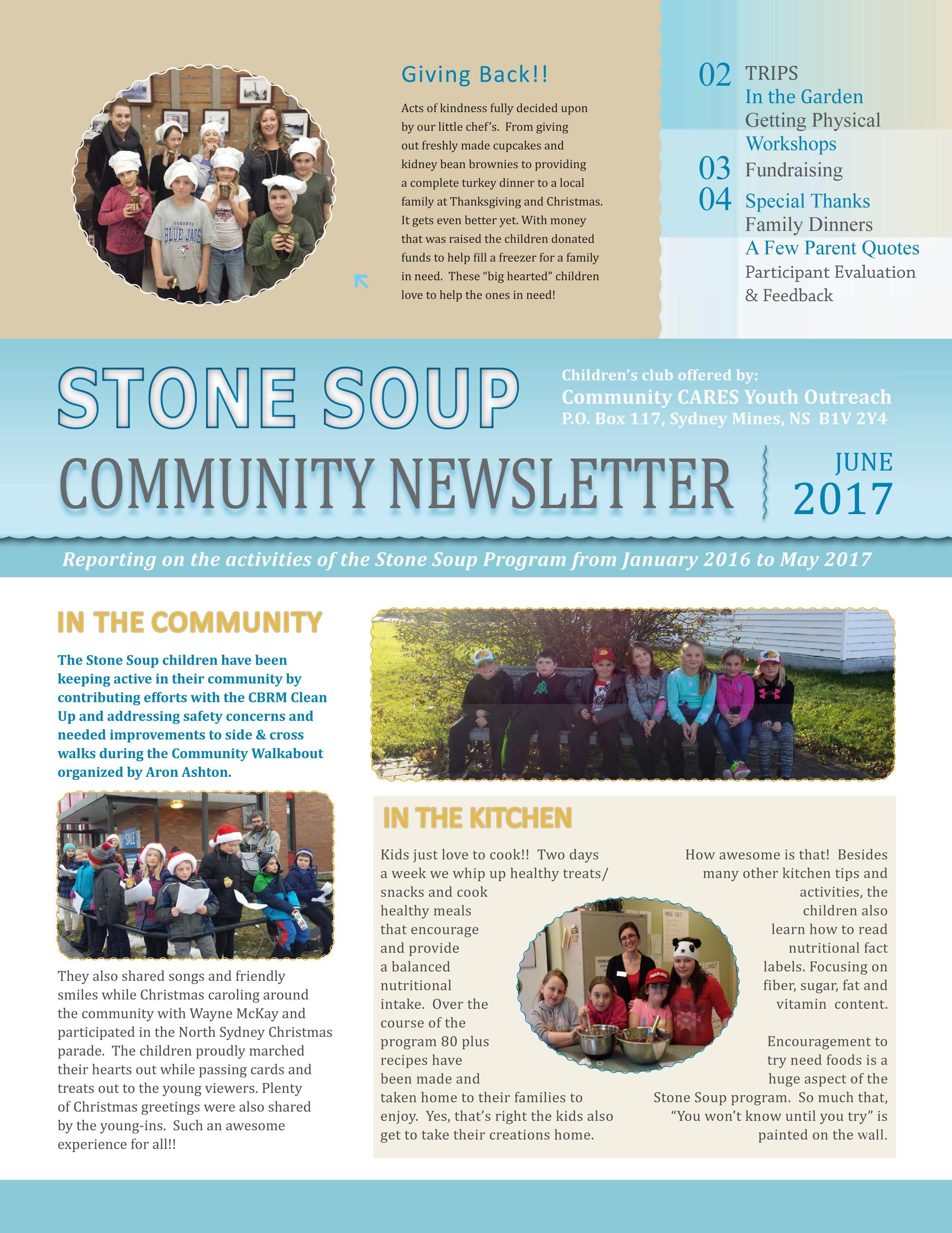 Page 1 of Stone Soup Newsletter - design by Jen Holtom | My ...