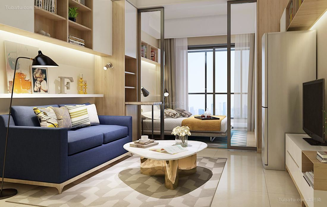 小戶型臥室與客廳隔斷效果圖 | Interior design, Small apartments, Living area
