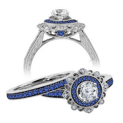 Cluster Prong Setting VVS1 Diamond & Sapphire Silver