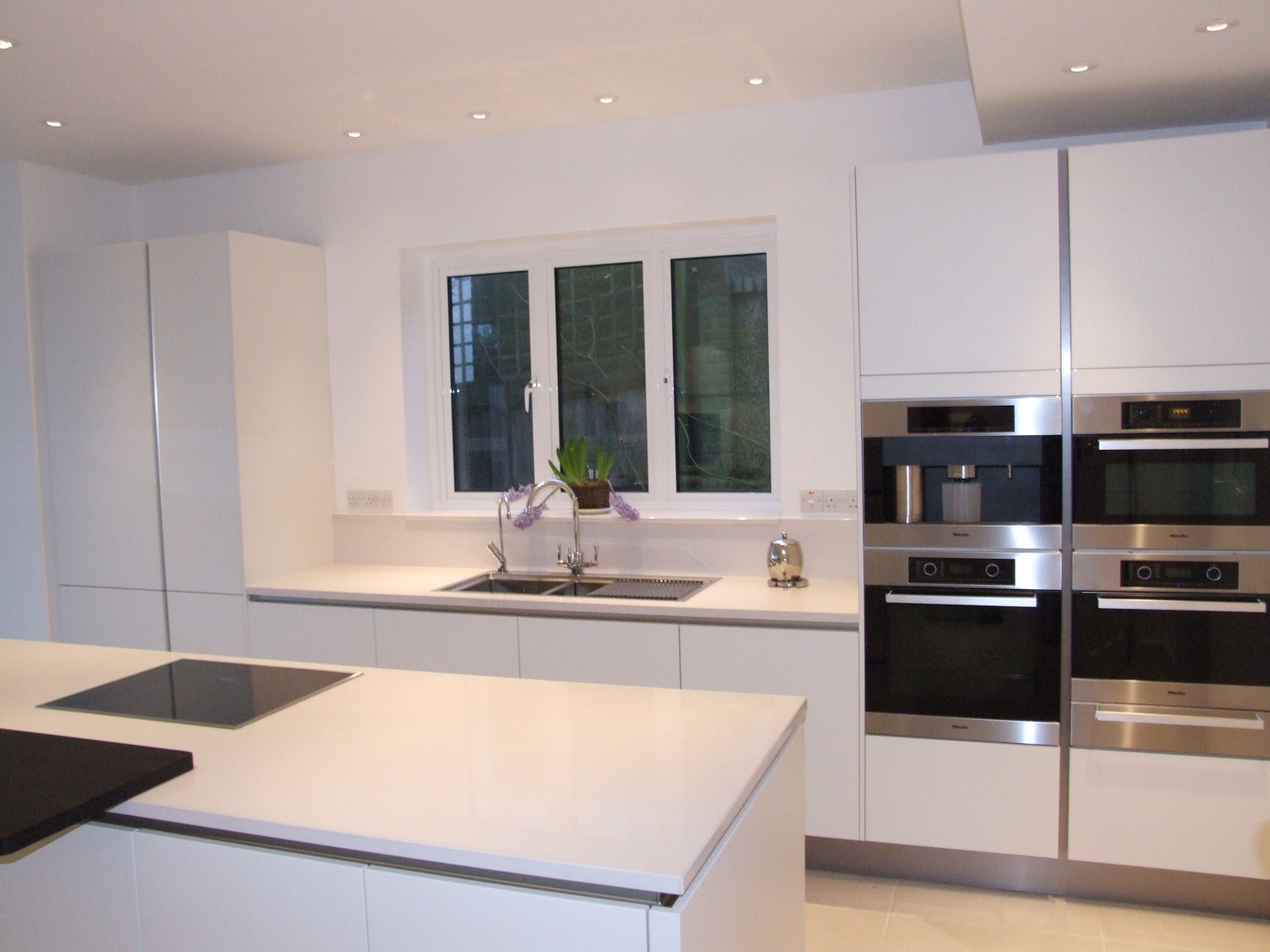 A Bank Of Appliances Create A Great Feature In Crisp White On White Kitchens!  #
