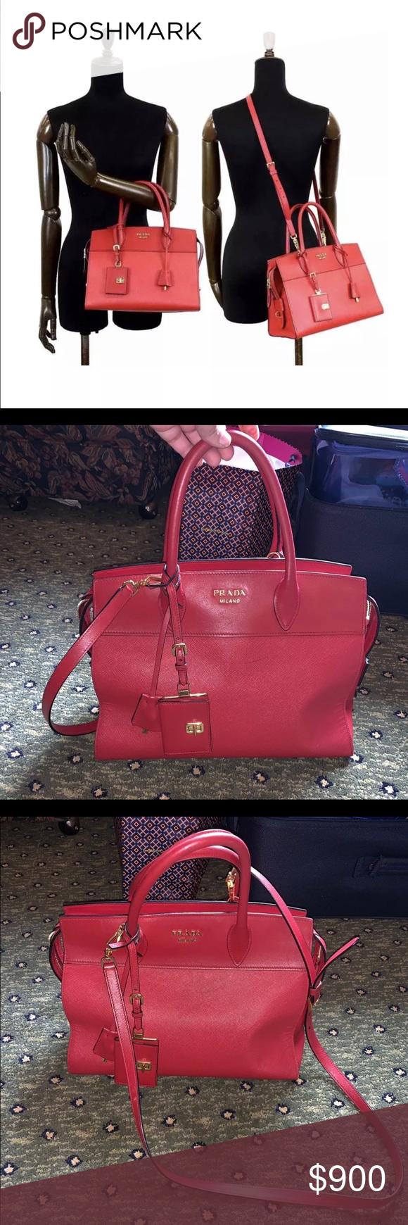 1512e0c3f82e PRADA Saffiano Soft Calfskin Bandoliera Bag Fuoco Bought a couple of years  ago. Wears on
