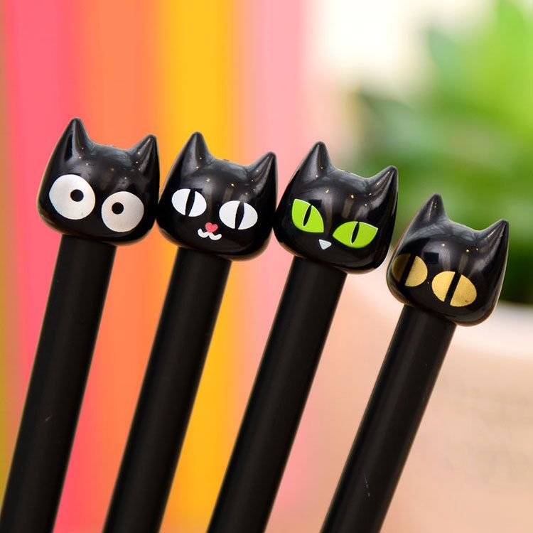 1PCS Cute Kawaii Black Cat Gel Pen Kawaii Korean Stationery Creative Gift School Supplies 0.5mm