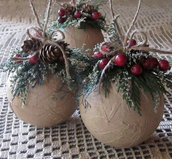 Rustic Ornaments Set Of Three Ornaments Woodland By Joniandco Christmas Ornaments Diy Christmas Ornaments Rustic Christmas Ornaments