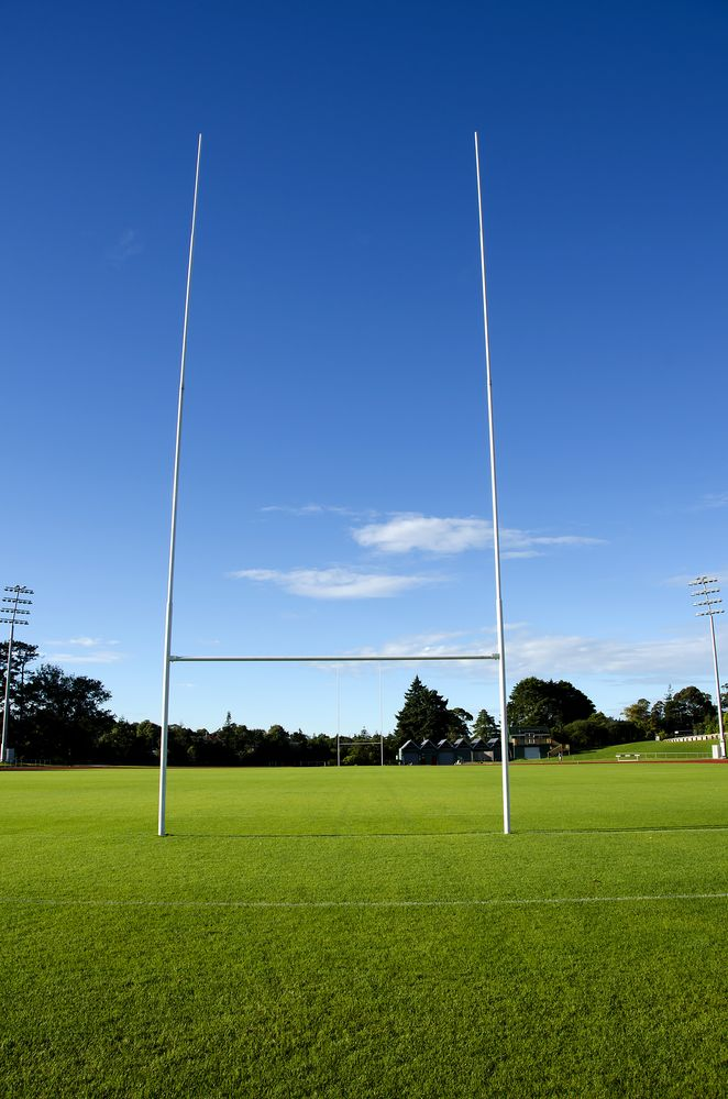 Low Angle View Of Empty Rugby Field With Goal Posts In Foreground Rugby Field Free Sport