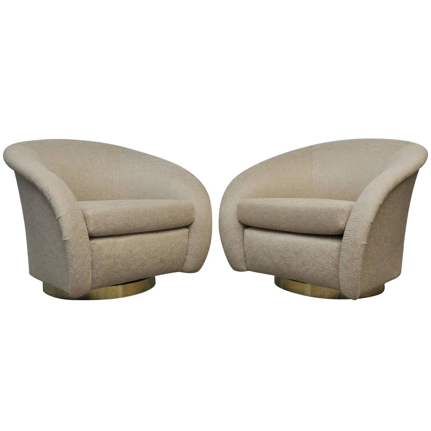 Pair Of Milo Baughman Swivel Chairs On Brass Bases