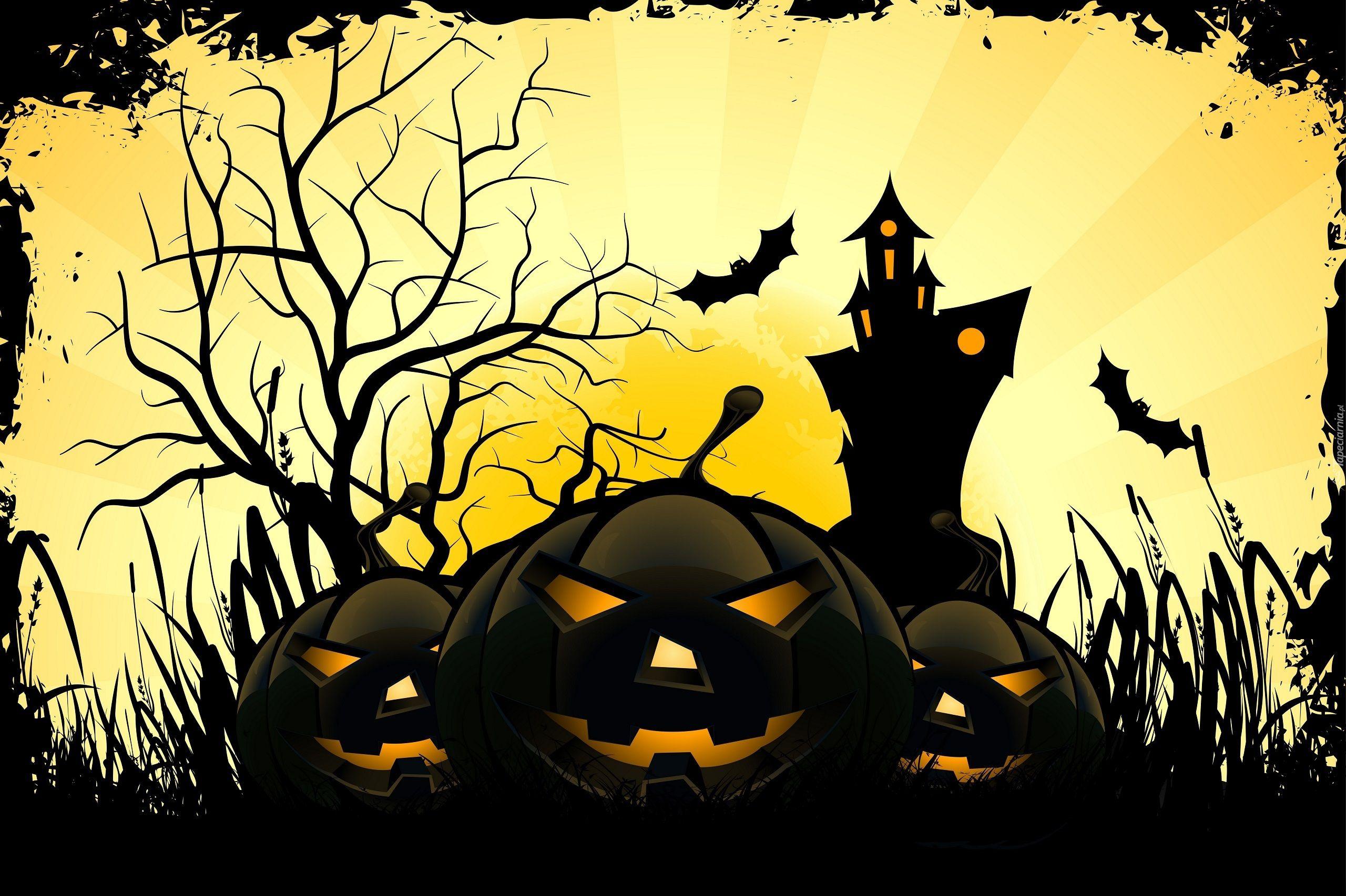 Halloween, Trzy, Dynie, Zamek, Nietoperze Halloween
