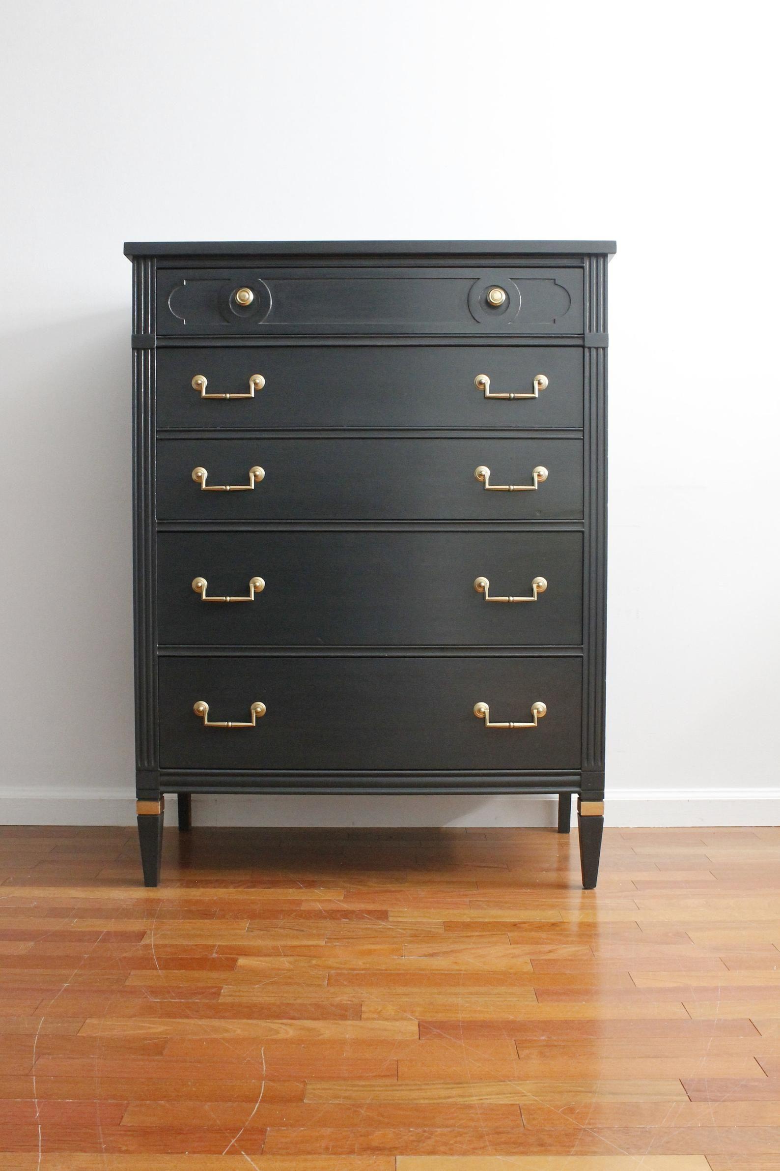 Soldmid Century Dark Grey Tall Dresser Chest Of Etsy Salvage Chic Tall Dresser Black Drawer Handles [ 2382 x 1588 Pixel ]