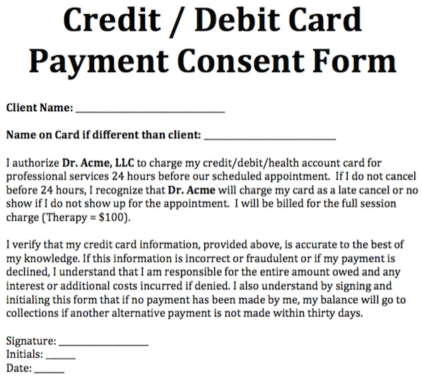 Credit  Debit Card Payment Consent Form  Templates